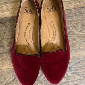 Burgandy Red Velvet Flats!